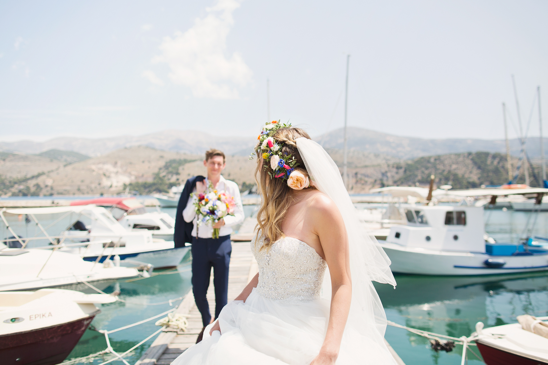 couple just married at kefalonia harbour