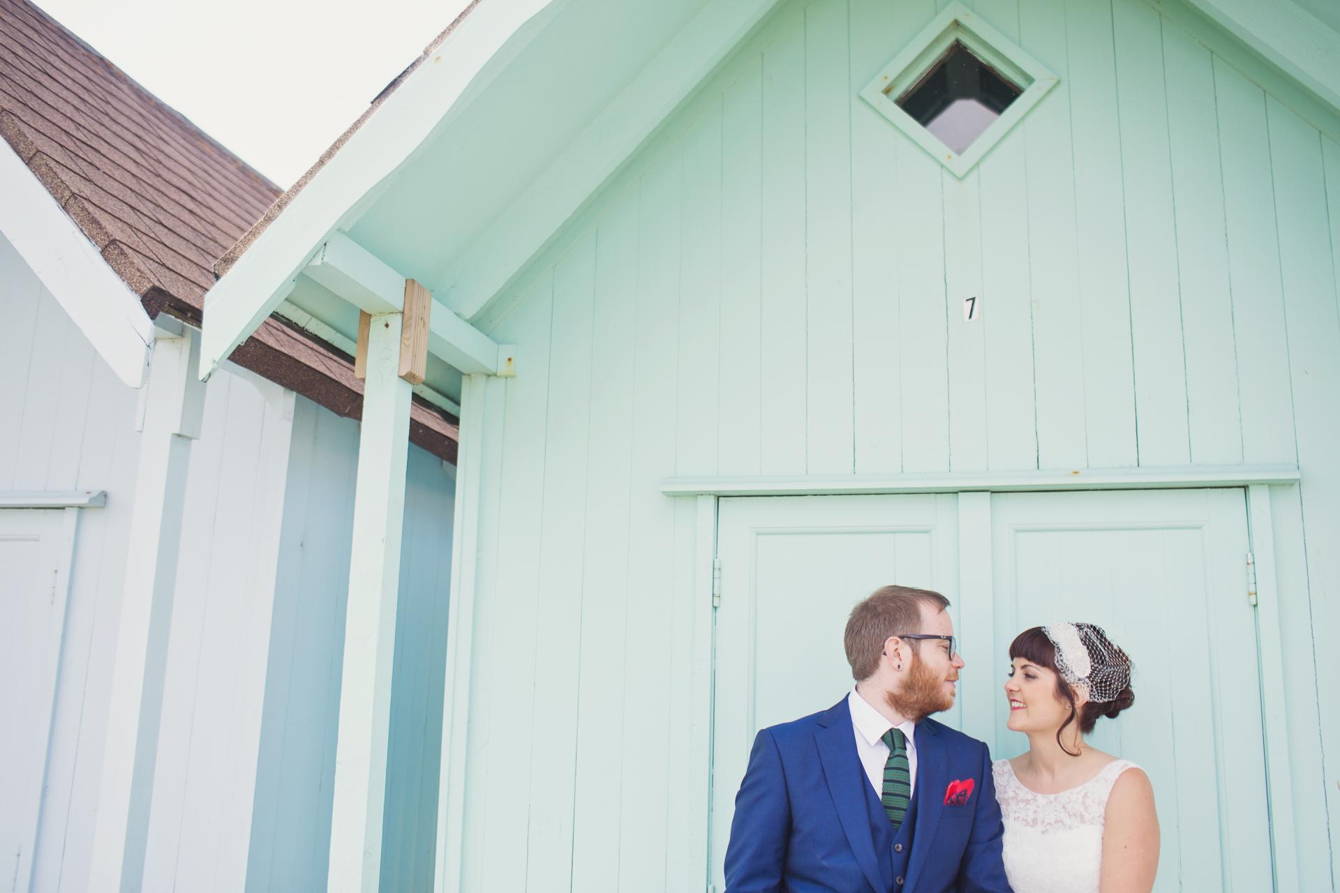 southsea beach huts wedding photo