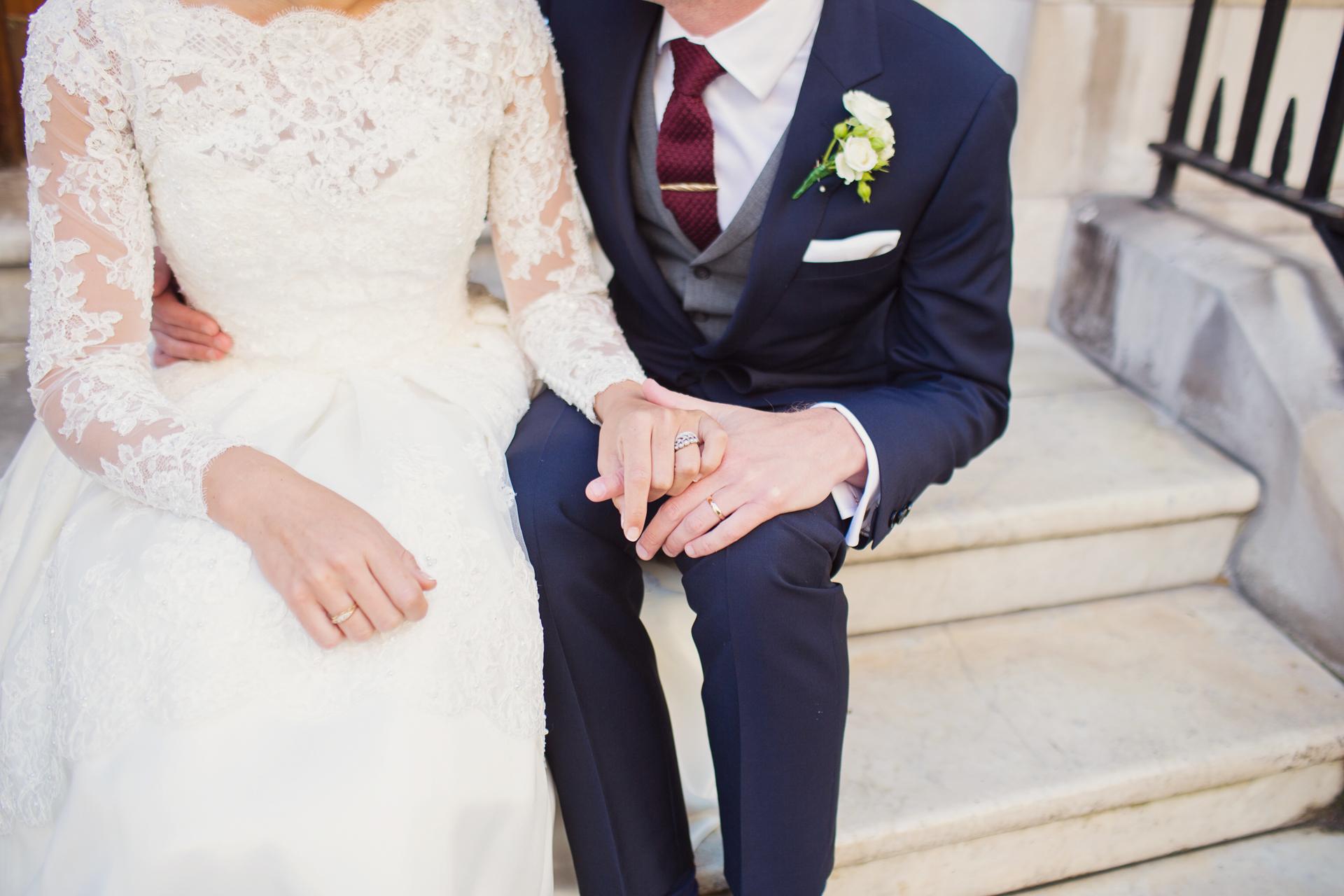 wedding couple on london city steps