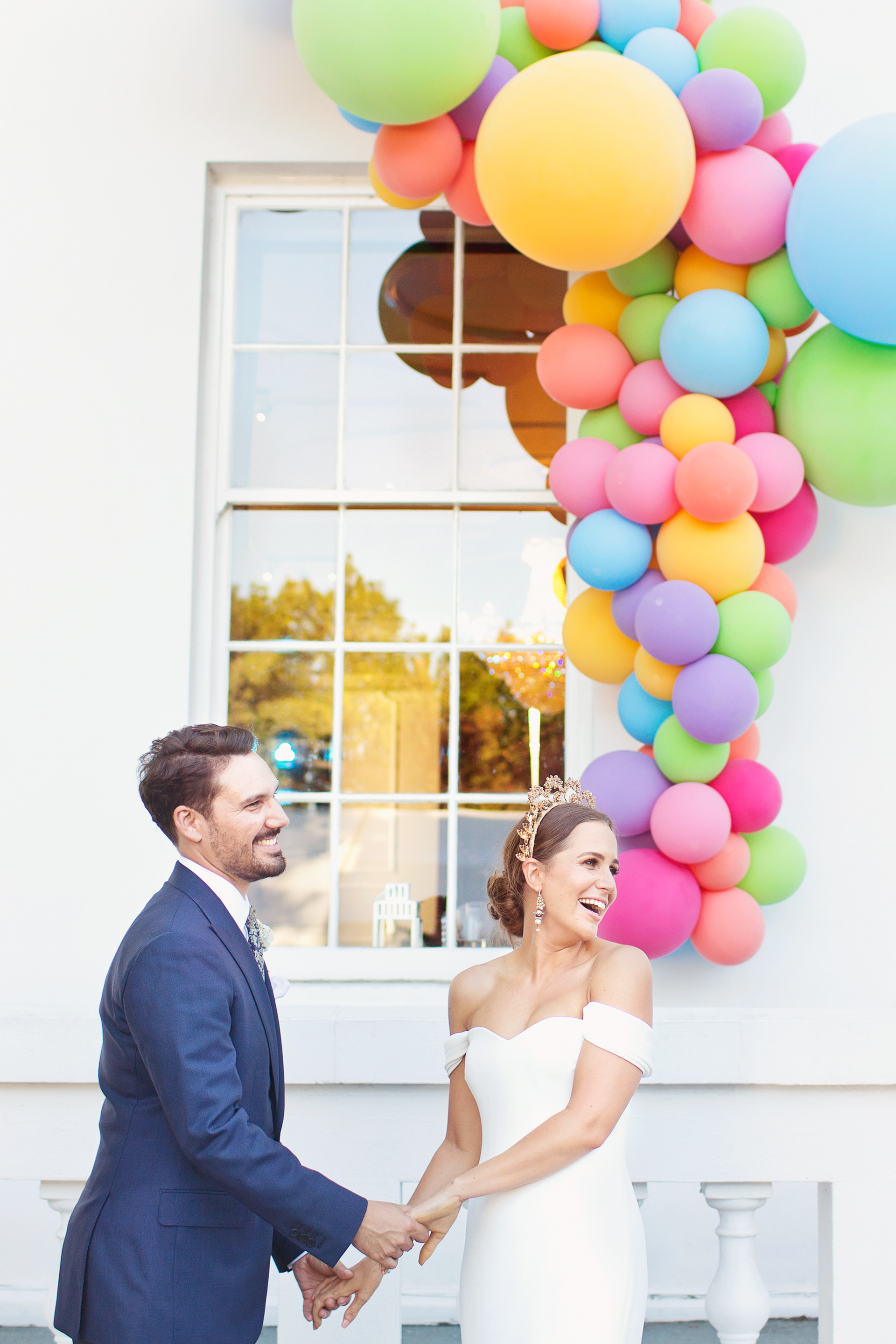 colourful wedding balloons belair house london wedding