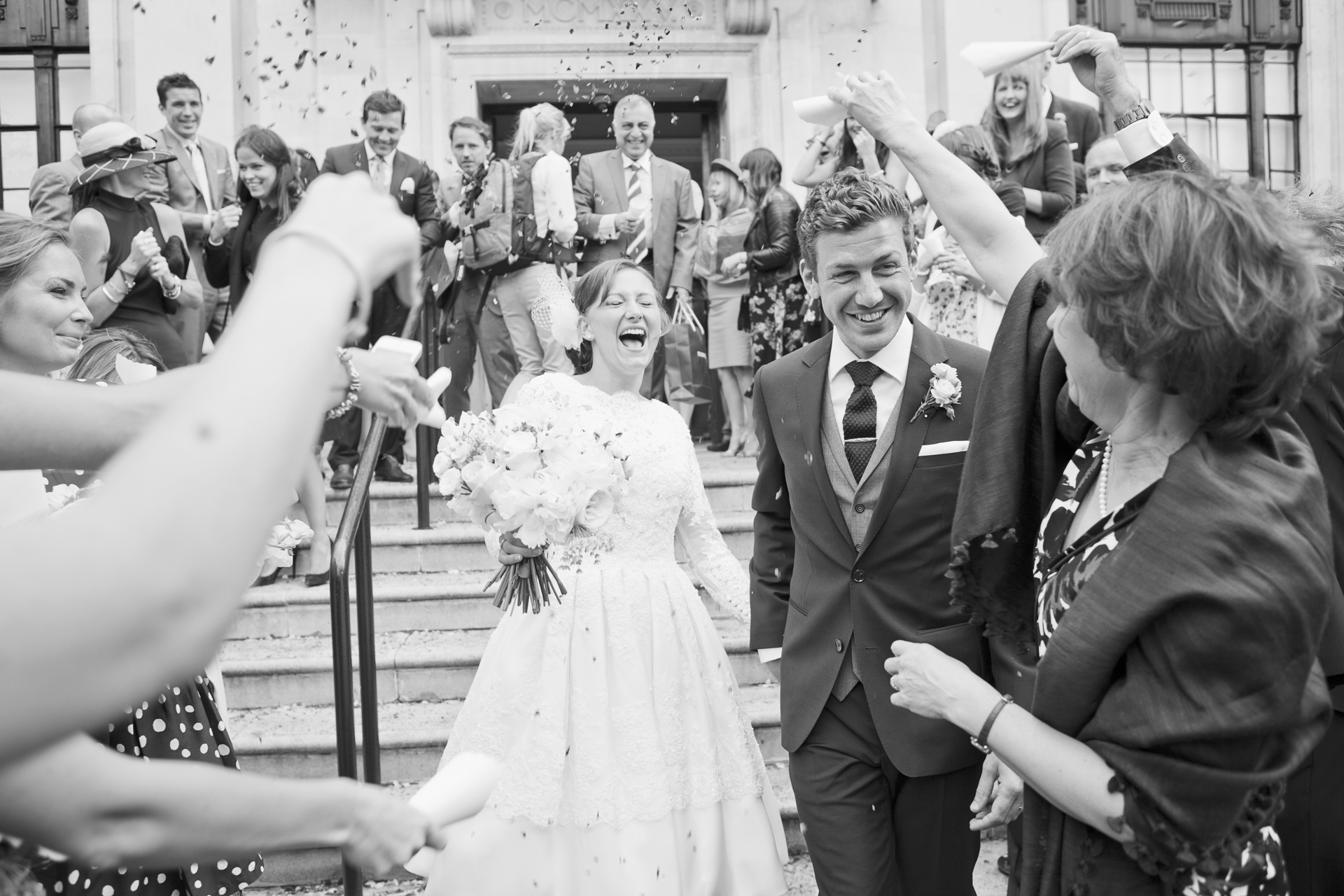 just married outside islington town hall