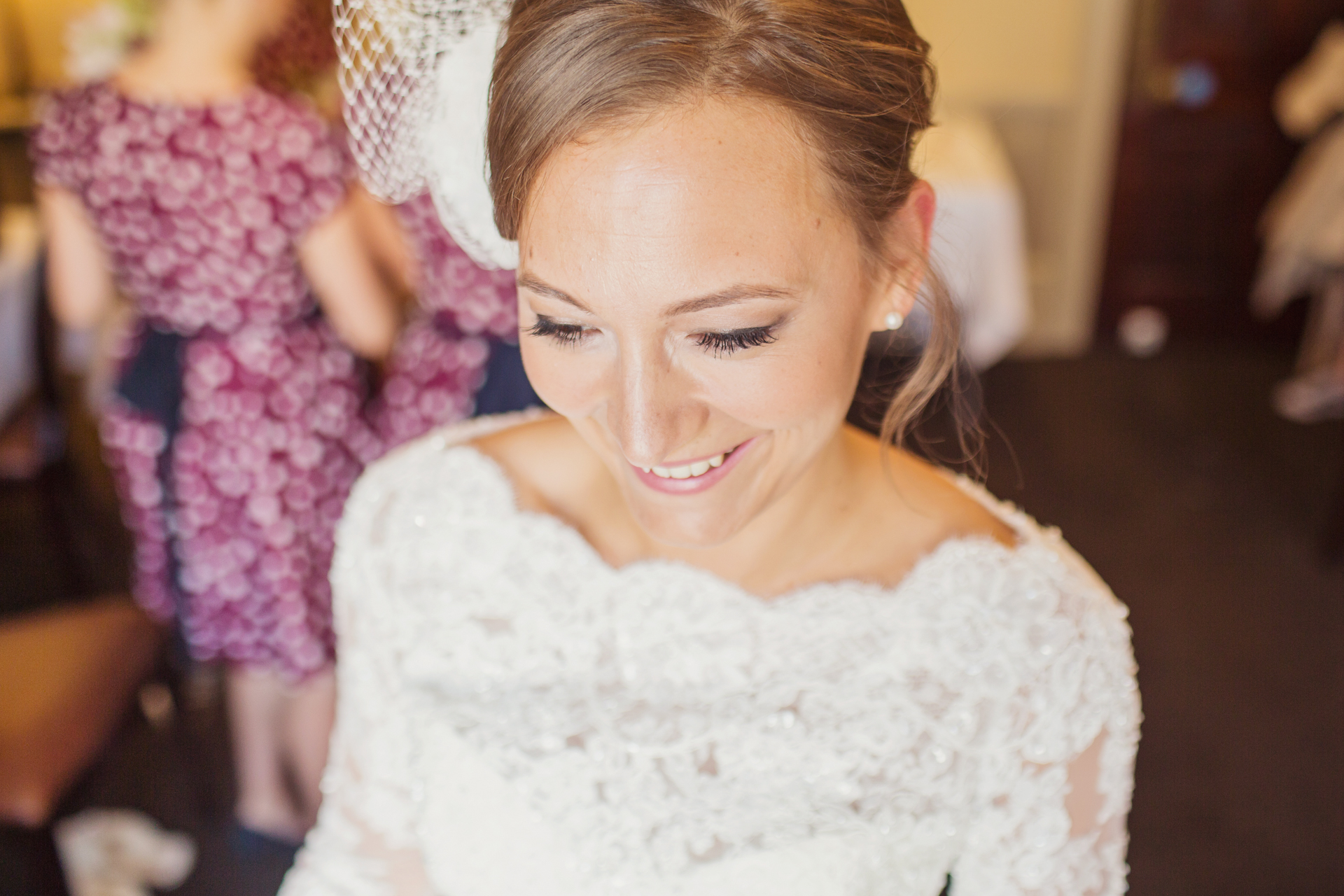 bride getting ready for her london wedding