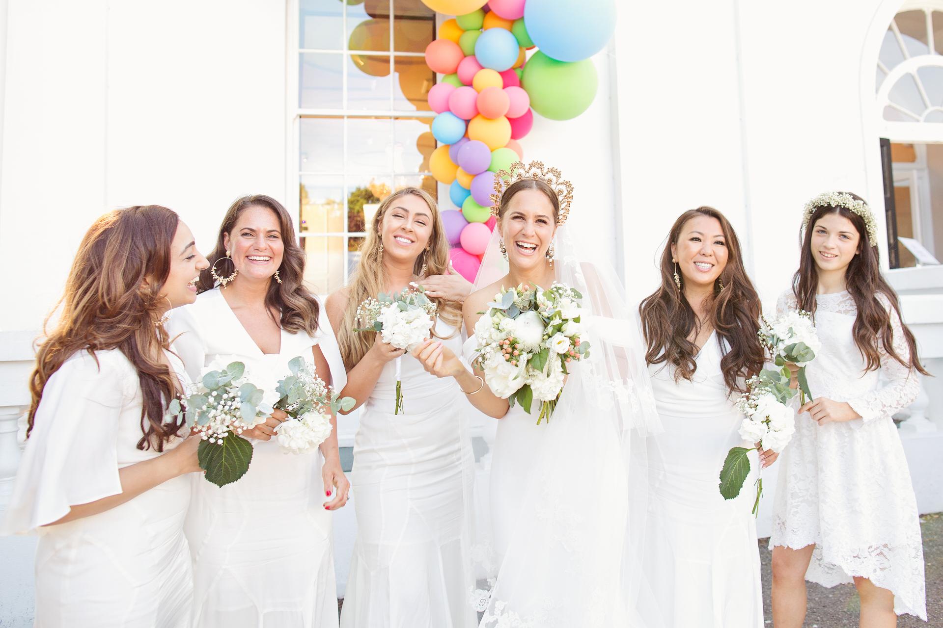cool bride and bridesmaids at london city wedding belair house