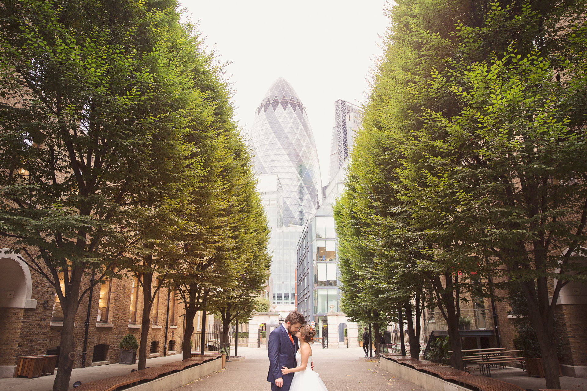 just married at devonshire terrace in front of the gherkin