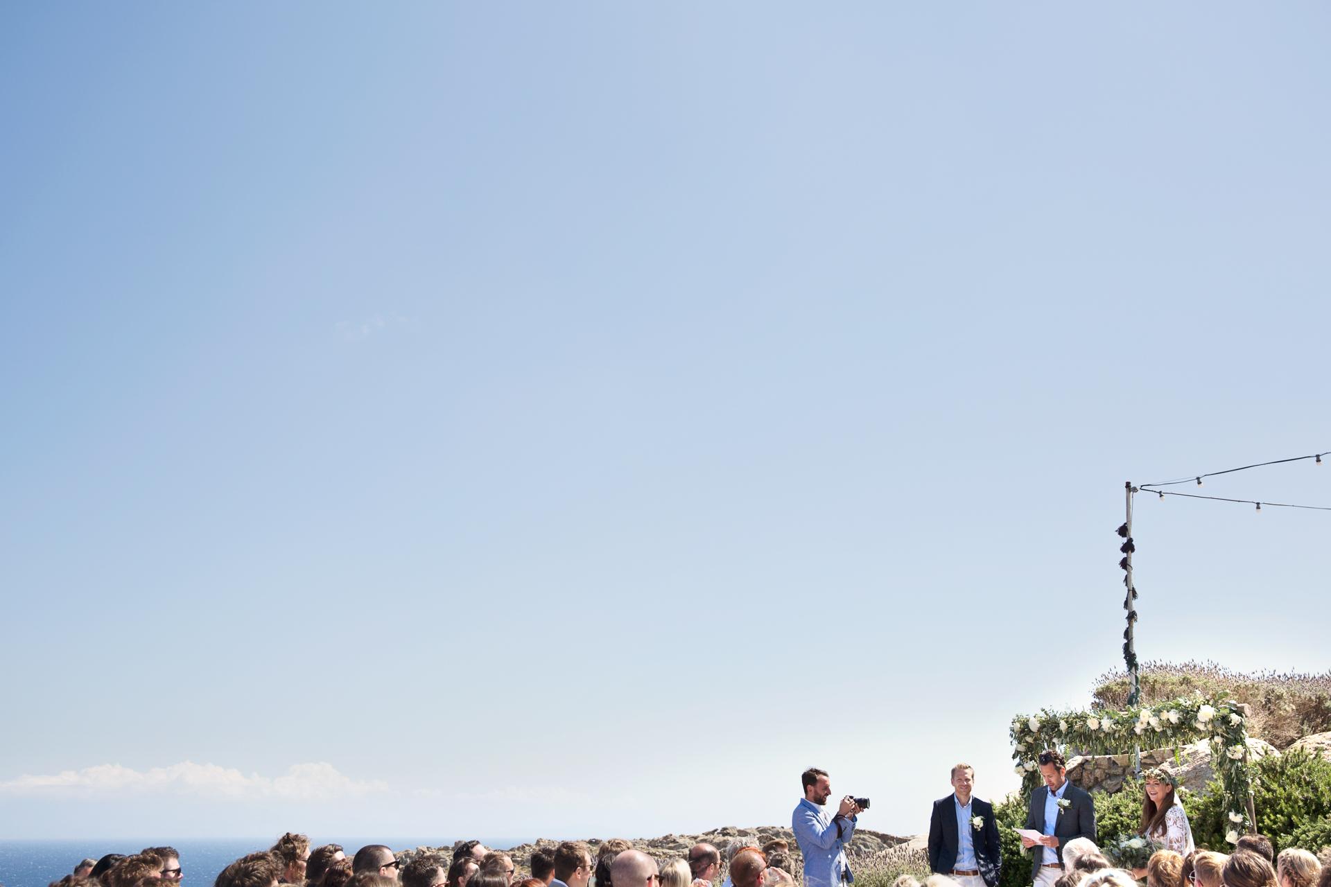 mykonos cliff top wedding by the sea