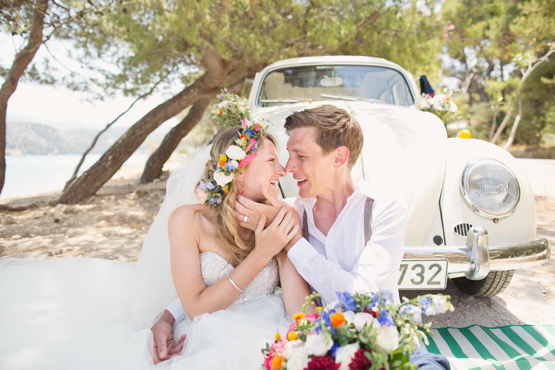 vw classic beetle in kefalonia on wedding day