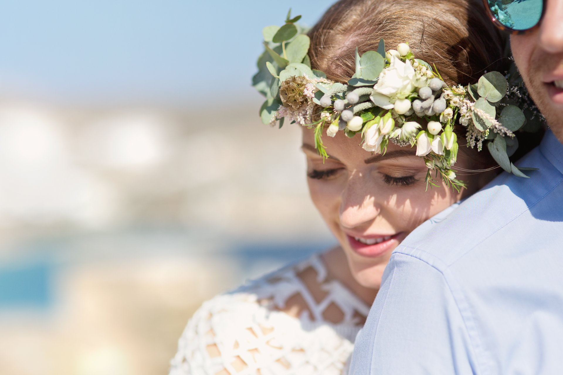 bride at mykonos wedding